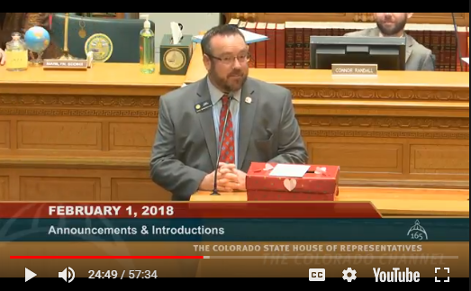 Rep. Hugh McKean made a box to collect and mail his colleagues' valentines from his hometown, Loveland.